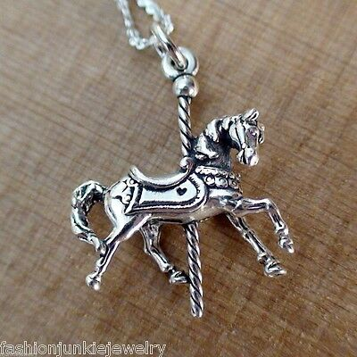 Carousel Horse Charm Necklace - 925 Sterling Silver NEW Carnival Ride Circus 3D