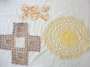3 Vintage 1950's Hand Crochet Doilies Assorted Sizes
