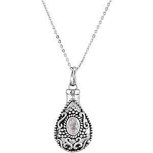 APRIL-Birthstone-Tear-ASH-HOLDER-Pendant-18-034-Chain-Sterling-Silver-Jewellery