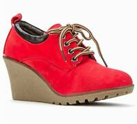 Shumaxx Womens Shoes Red Suedette Wedge Lace Boots Uk Size 6 7 8 Eu 39 40 41