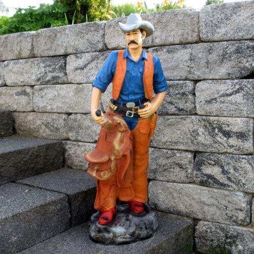 COWBOY mit SATTEL und COLT 90 cm Deko Figur GASTRO WERBUNG WILDER WESTEN Statue