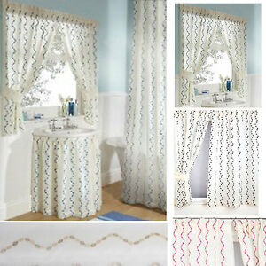 Image Is Loading Waves Embroidered Voile Bathroom Shower Curtains Sink Skirts