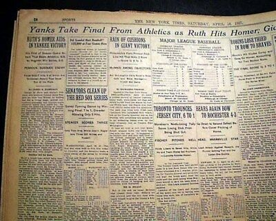 Supply Best Babe Ruth Home Run #1 Of Record 60 Season New York Yankees 1927 Newspaper Baseball-mlb