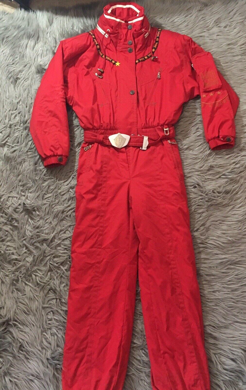 Bogner WB Ladies Sz 8 Sub Zero RED 1-pc Ski Snow Suit Vtg 80s 90s Romper One