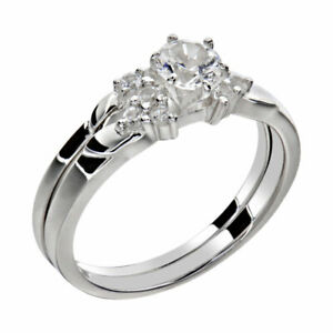 Women-039-s-Round-Cut-AAA-CZ-Stainless-Steel-Wedding-Ring-Set-Sz-5-10