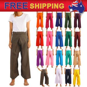 5d5250d1117 Details about Women Thai Fisherman Pants Toray Yoga Fitness Wear Trousers  Long Freesize AU