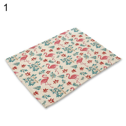Fashion Flamingo Flower Leaf Insulation Bowl Placemat Dining Table Mat Pad