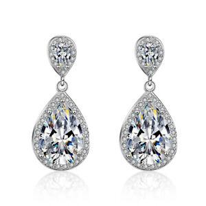 925-Sterling-Silver-Water-Drop-Dangle-Stone-Stud-Earrings-Womens-Jewellery-Gift