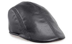 0e1dafd78eb 100% GENUINE Leather Ivy Cap Mens Black Gatsby Newsboy Hat Golf ...