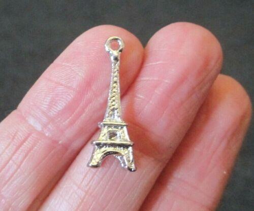 Pack of 10 Silver Tone Eiffel Tower Charm Pendant Paris Fashion Love 24mm x 8mm