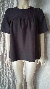 Isabel-Marant-100-wool-short-sleeve-A-line-top-blouse-in-anthracite-grey-size-2