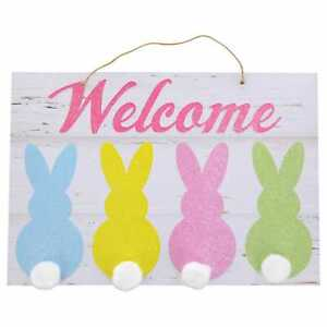 Welcome Hanging Wall Sign With Pastel Bunnies And Cotton Tails 13 X 11 Ebay