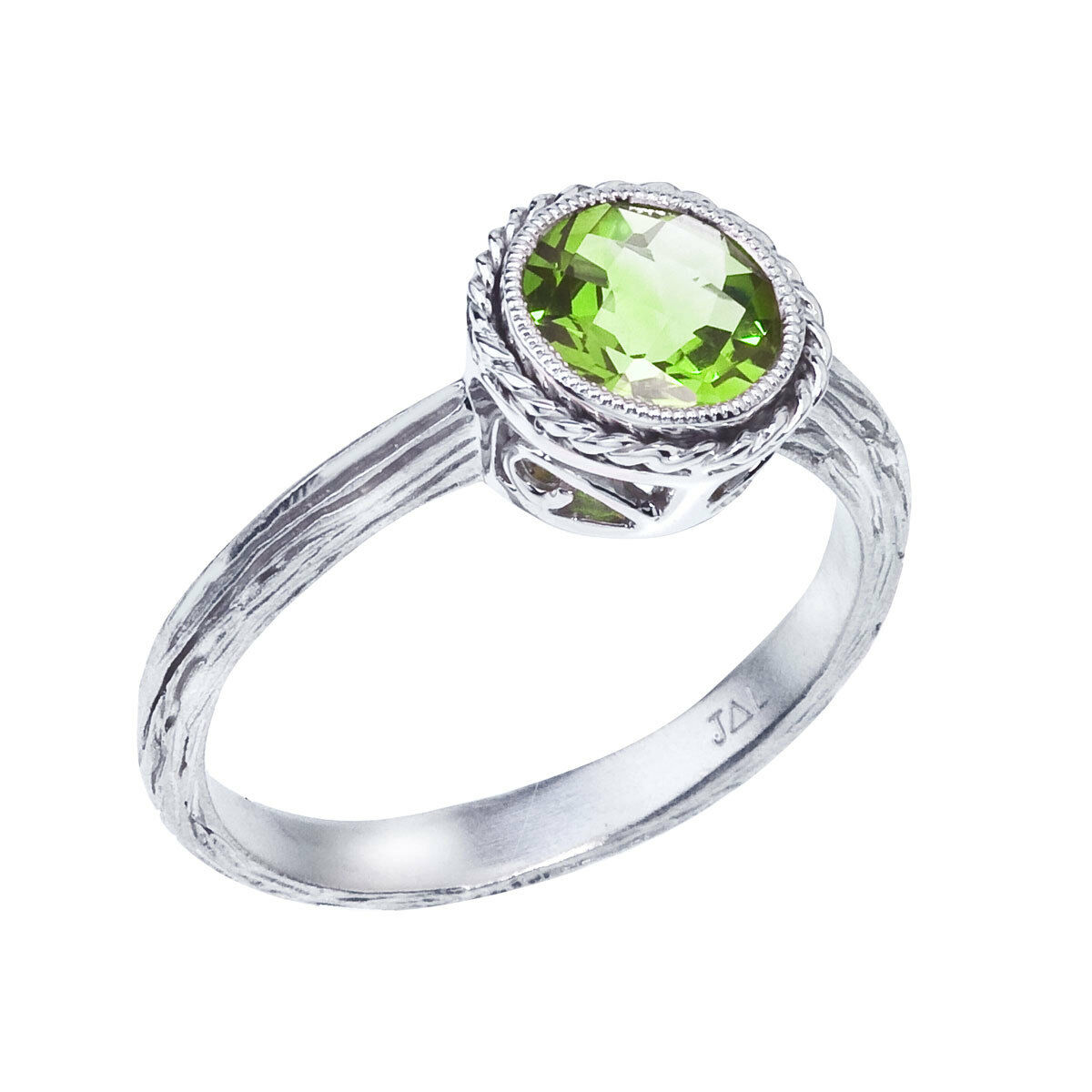 14k White gold Peridot Braided Ring