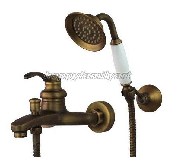Support mural bain douche robinet en laiton antique Tub Filler Faucet & douche à main ytf034