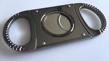 Double Blade Guillotine Cigar Cutter Polished Gun Metal 64 Ring Gauge - Gift Box