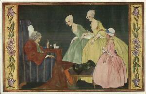 Rie-Kramer-La-Visite-au-Malade-Women-Visit-Old-Sick-Woman-c1910-Postcard
