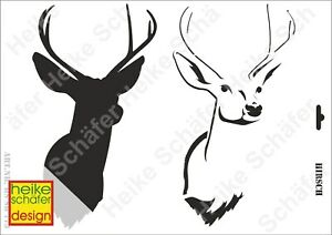 Schablone-Stencil-A3-063-773-Hirsch-Neu-Heike-Schaefer-Design