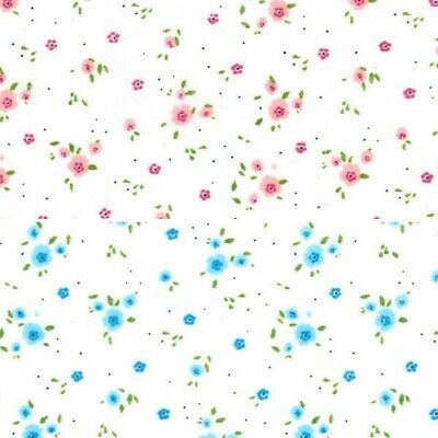 """DITSY FLORAL FABRIC POLYCOTTON CRAFT BUNTING PATCHWORK  DRESSMAKING 110CM 43/"""""""