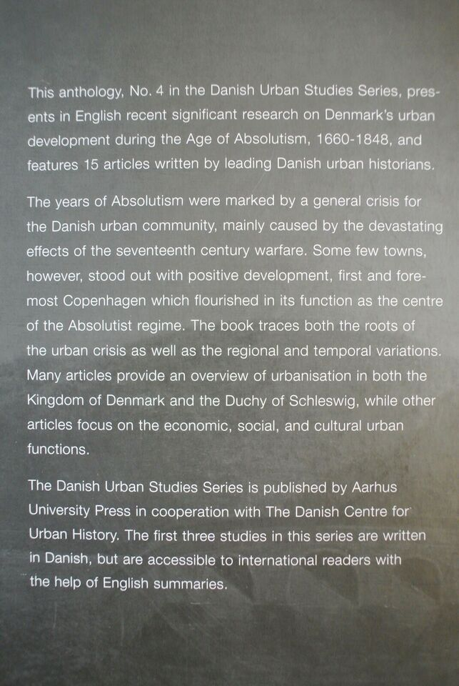 danish towns during absolutism - urbanisation and , edited