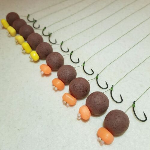 10 X KD HAIR RIGS LOADED WITH 15mm SALMON /& SHRIMP POPUPS CARP COARSE FISHING