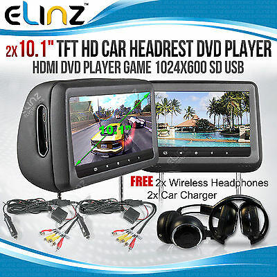 "Headrest 2X10.1"" HD Car Monitor Pillow HDMI DVD Player GAME 1024X600 IR FM SD 9"""