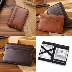 091f07538119a RFID Blocking Magic Flip Leather Wallet Slim Credit Card Holder Mens ...