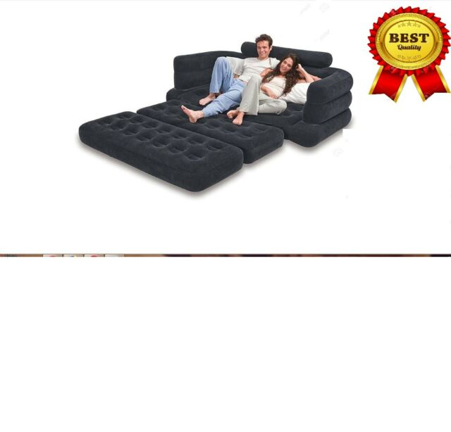 Intex Pull Out Sofa Bed Queen Size Black Inflatable Airbed Vinyl