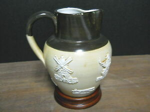 "Pottery Pitcher Bourne Denby Derby With Wood Stand Fox Hunt England 1/8"" Chip"
