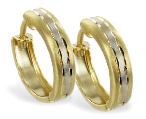 ECHT-GOLD-Kleine-bicolor-Creolen-Ohrringe-12-mm