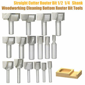 1-4-034-1-2-034-Straight-Cutter-Router-Bit-Shank-Woodworking-Cleaning-Bottom-Router-Bit