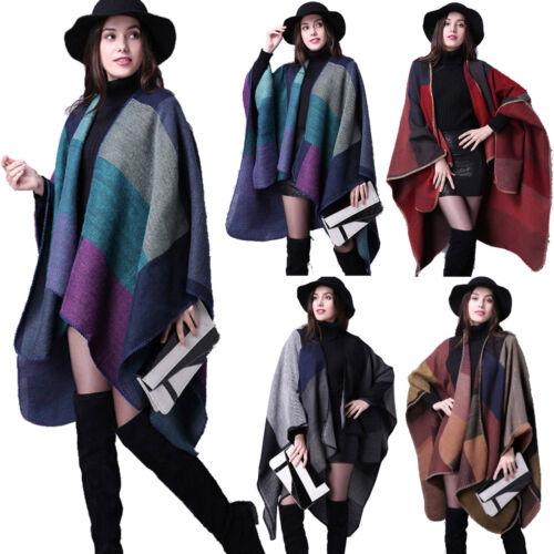 Women/'s Warm Cape Blanket Ladies Open Front Winter Wrap Poncho Shawl Check
