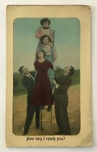 Illustrated-Postcard-Women-Standing-On-Ladder-Men-Holding-amp-Watching-vtg-AA