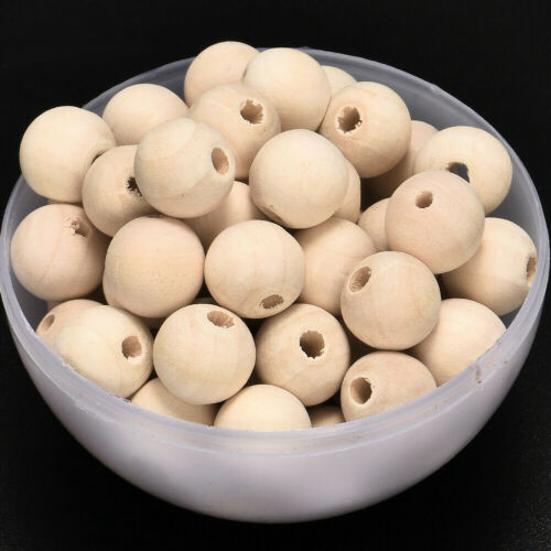 Cy/_ 100Pcs Wooden Beads Round Loose Spacer Ball Jewelry Making Craft DIY 8-14mm