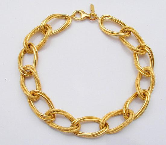 Bold  Sparkle Textured Oval Bracelet 14K Yellow gold