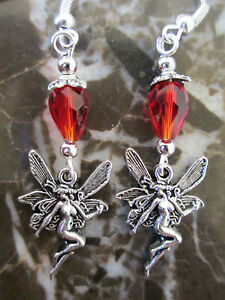 Silver-Fairy-amp-Red-Crystals-Artisan-Earrings-Wicca-Pagan-Goddess
