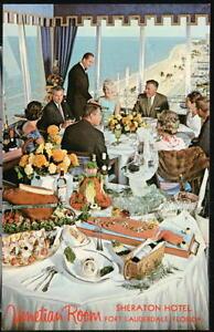 FORT-LAUDERDALE-FL-Venetian-Room-Restaurant-Sheraton-Hotel-Vintage-Postcard-Ft