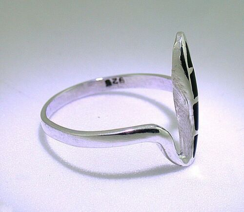 Custom Freeflow Wrap Black Onyx Cabochon Sterling Silver Band Ring Sizes 7 8 9