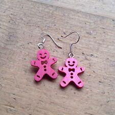 Gingerbread Man Drop Earrings Pink Cute Kitsch Candy Gift