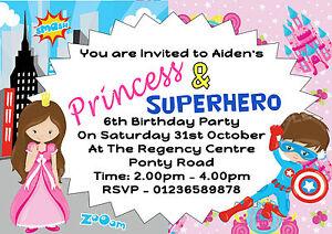 personalised princess superhero fancy dress birthday party