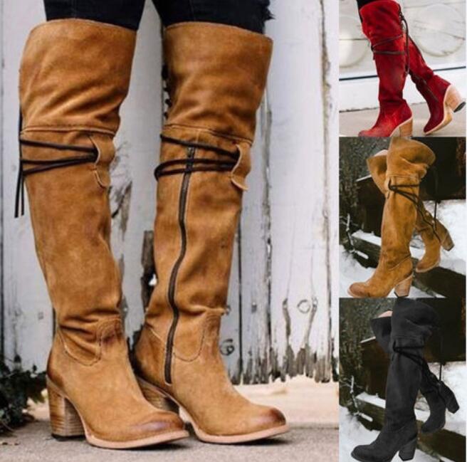 Womens New Retro Punk High Boots Over Knee Chunky Heel Warm Motor Pu shoes Hai1