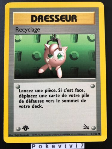 Carte Pokemon RECYCLAGE 61//62 Commune Fossile Wizard EDITION 1 FR NEUF
