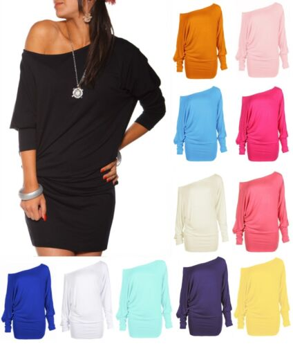 Womens Long Sleeve Batwing Mini Tunic Dress Off Shoulder Plain T Shirt Top 8-28