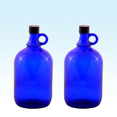 2 x Gallone 2 Liter Wasser Wein Glasballonflasche Glasballon Flasche Blau