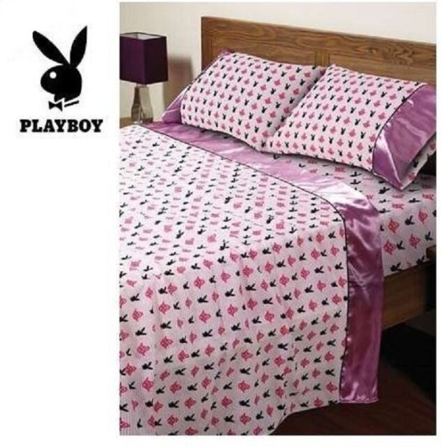 PLAYBOY PINK LOVE DOUBLE BED SATIN SHEET SET BEDROOM HOME DECOR RRP 148