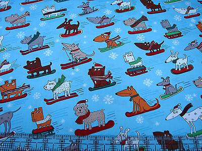 2.4 Yards Cotton Fabric - Benartex Winter Novelties Dogs Sled Ski Snowboard