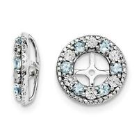 Platinum Sterling Silver Diamonds & Aquamarine Halo Earring Jackets For Stud