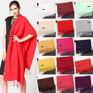 Fashion-Femmes-Hiver-Chaud-Cachemire-Soie-Solid-Long-Pashmina-Chale-Wrap-Scarf