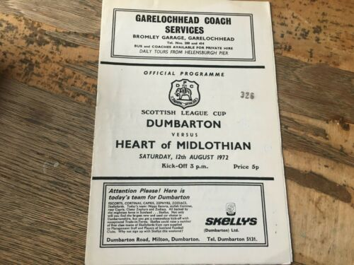 Dumbarton HOME programmes 1970s choose from list
