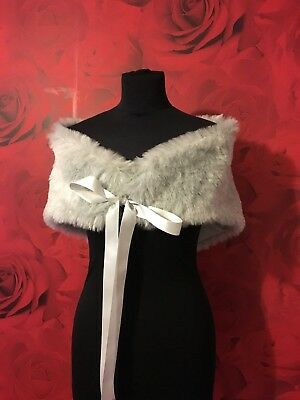 LUXURY CREAM FAUX FUR WRAP SHRUG RIBBON FASTENING *free swatches*