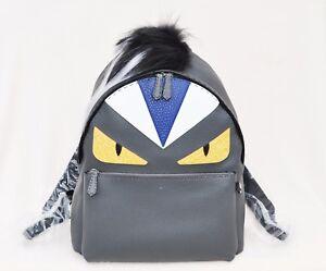9ac8adc9c99 Fendi Men s Monster Backpack With Mohawk Fur Crest, Gray Black, MSRP ...